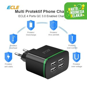 ECLE Adaptor Charger Fast Charging 4 USB Port 3A QC 3.0 EAC605
