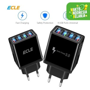 ECLE Adaptor Charger Fast Charging LED 4 USB Port 3A QC 3.0 EAC606