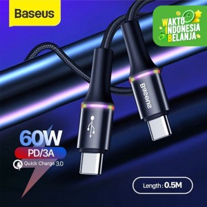 KABEL DATA TYPE-C TO TYPE-C BASEUS HALO DATA CABLE PD 2.0 60W - 0.5 M
