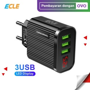 ECLE Adaptor Charger Fast Charging LED 3 USB Port Black/Hitam EAC0607