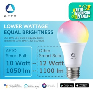 AFTO 10W Smart Bulb RGB+WW-CW/CCT Lampu Led -WiFi IoT Home Automation