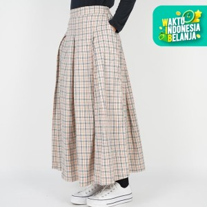 Dailyoutfits Rok kotak Pleated Midi Skirt Flare Cream Umbrella Premium