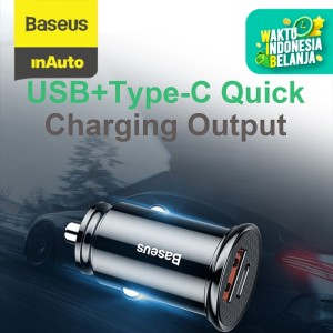 CAR CHARGER BASEUS 30W TYPE-C PD3.0+USB QUICK CHARGE 4.0 - Hitam