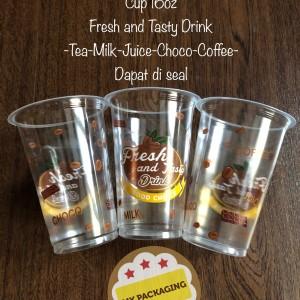 Gelas Cup Plastik 16oz Juice/kopi/teh/boba/ice FRESH AND TASTY 16 oz