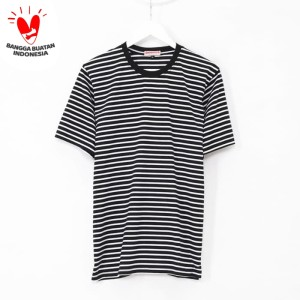 Kaos Garis Lengan Pendek Black Stripes Unisex Premium Quality