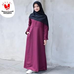 Muslimore - Baju Muslim Wanita Gamis Murah Marun Polos Balotelli XNB07