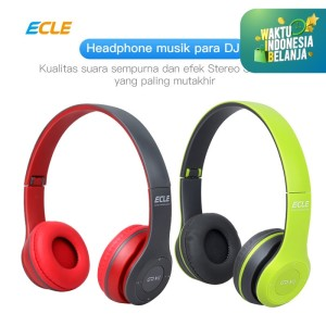 ECLE Bluetooth Headphone 2in1 Overhead Travel Foldable Stylish MicroSD - Hijau