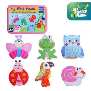 Mainan Edukasi PUZZLE MY FIRST PUZZLE 6 in a BOX motif binatang mobil