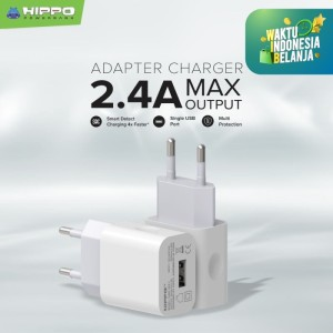 Hippo Cubic Gen 2 Adaptor Charger 2.4A 1 Port Smart Detect Charging - Putih