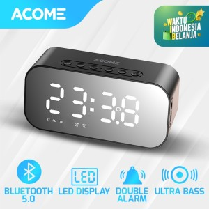 Acome A5 Speaker Bluetooth 5.0 Jam Alarm LED Display Ultra Bass - Speaker Only