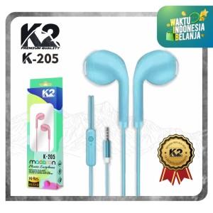 Headset / Handsfree K-205 MACARON K2 Premium Quality Super Bass Stereo - Hitam