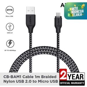 Aukey Cable CB-BAM1 1m Braided Nylon USB2.0 to Micro Black - 500424