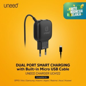 UNEED Smart Charger Triple Output 15w with Micro USB Cable - UCH122