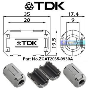 Magnet TDK Original Tipe ZCAT 2035 0930A Ferrite utk kabel busi coil injector delco audio diameter 7-10mm