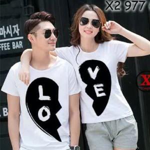 Kaos Couple / Baju Pasangan / Soulmate Cp Love Putih 10390