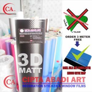 STICKER/ STIKER CARBON FIBER 3D HITAM MATT ( Hight Quality )