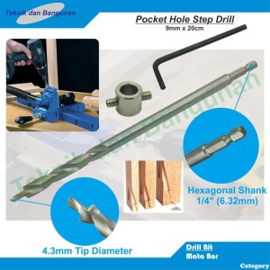 Step Drill Pocket Hole Jig 9mm x 20cm