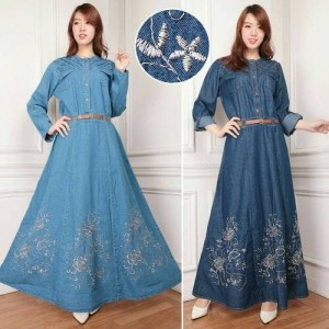 maxi dress jeans jumbo alaska gamis bordir