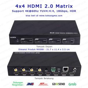 4X4 HDMI 2.0 MATRIX UHD 4K @60hz IR RS232 and IP LAN REMOTE CONTROL