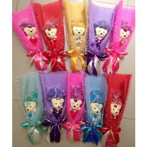 Buket bunga Boneka Valentine/ Kado Wisuda/ Kado Anniversary 1bo+3bunga