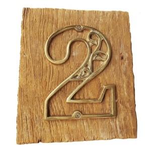 11cm Nomor Villa Ukiran Kuningan Asli gabung Kayu Jati 16cm - No.2