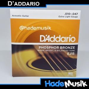 Senar Daddario EJ15 Phospor Bronze Gitar Akustik 10-47 (Original USA)