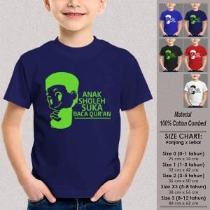 Kaos Anak Muslim SN-ASMSMY057 ANAK SHOLEH SUKA BACA QURAN Usia 1-12Th