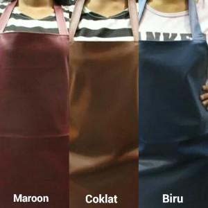 Apron / Celemek PVC (Syintethic Leather) Kulit Sintesis Berkualitas - Cokelat Tua