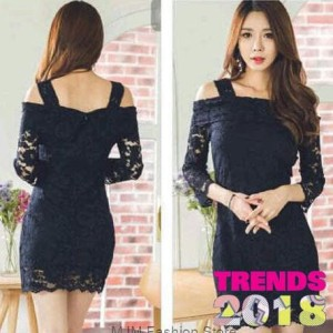 Dress Susi Black Brukat Mini Midi Dress Fashion