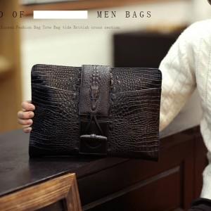 Clutch pria handbag cowok import kulit buaya CROCO - hti0015