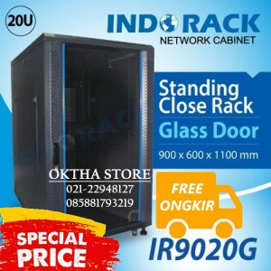 "Rack Server 19"" 20U IR9020G Depth 900mm Indorack Close Rack Glass Door"