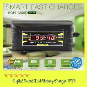 Charger Aki Mobil/Motor/ Lead Acid Digital Smart Battery Charger 12V6