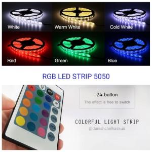 FLEXIBLE STRIP LED 5050 RGB IP44 KOMPLIT SET TINGGAL COLOK