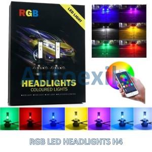 Lampu Mobil LED H4 HB2 RGB Warna Warni 40W 6000K Putih Phone Kontrol