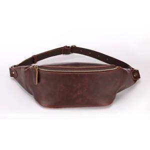 tas slingbag sling bag / Selempang pria kulit Brown cokelat HTI0782