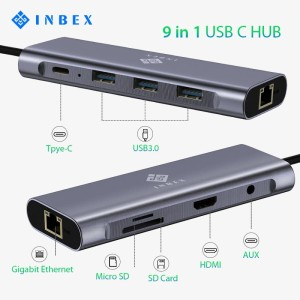 INBEX 9 in 1 Type C Hub Adapter Converter USB-C to HDMI+VGA