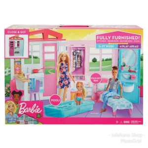 Rumah Boneka Barbie Mattel Doll House Kitchen Pool Bedroom Bathroom