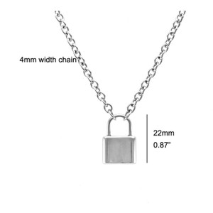 PROMO Stainless Steel Silver Color PadLock Pendant Necklace Brand