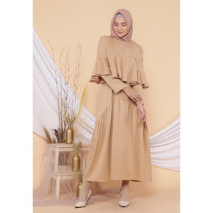 Hijab Ellysha PEARLY RUFFLE EXCLUSIVE DRESS MOCCA
