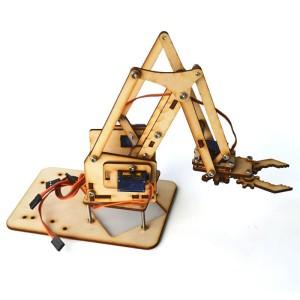 DIY Robotic Robot Arm Tangan Lengan Clamp Jepit 4x Servo 9g Kit Kayu