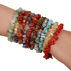 Gelang batu alam kerikil POLOS etnik natural chips stone bracelet BG32