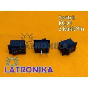 Saklar On Off 21x15mm Rocker Switch Kecil Hitam 2 Pin Switch 21x15 mm