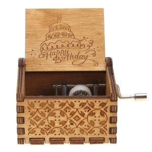 Kotak Musik Happy Birthday Wooden Music Box Vintage