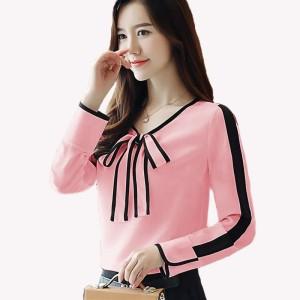 Baju atasan - kemeja wanita - Blouse wanita gaya korea with ribbon