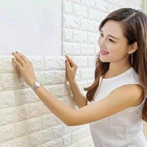 Sticker Wallpaper Dinding 3D Tempel Dekorasi Background Bata Foam Lem