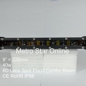 """LED Light Bar Super Slim 9"""" (228mm) 40w 6D Lens Spot Flood Combo Beam"""