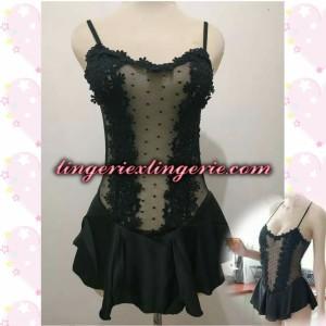 L-1221 - Lingerie Elegant Princess Floral Transparant Black Costume