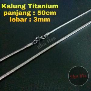 kalung pria wanita titanium silver xk22