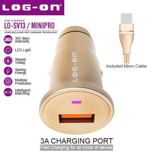 Log On Mini Pro Car Charger Mobil Quick Charge QC 3.0 LO-SV13