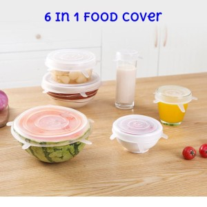 6in1 Silicone Food Cover Stertch Bowl Lid Silikon Penutup Makan DE010